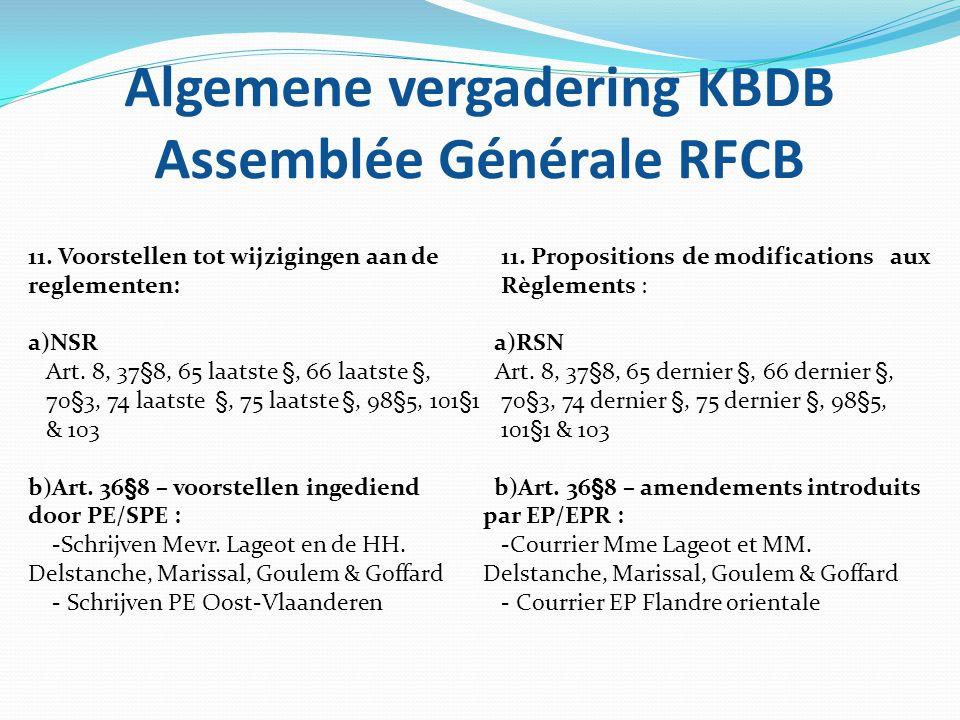 Algemene vergadering KBDB Assemblée Générale RFCB 11. Voorstellen tot wijzigingen aan de reglementen: a)NSR Art. 8, 37§8, 65 laatste §, 66 laatste §,