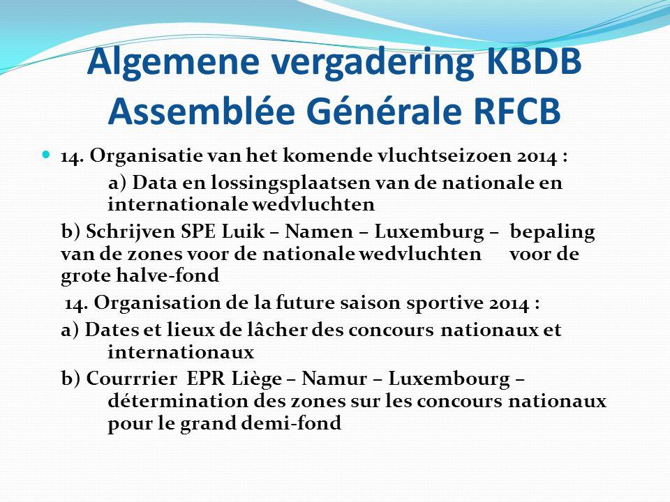 Algemene vergadering KBDB Assemblée Générale RFCB  14. Organisatie van het komende vluchtseizoen 2014 : a) Data en lossingsplaatsen van de nationale