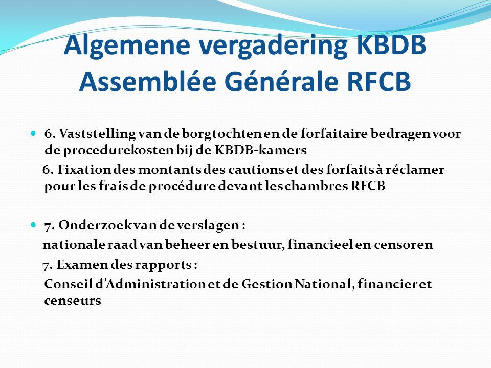 Algemene vergadering KBDB Assemblée Générale RFCB  6. Vaststelling van de borgtochten en de forfaitaire bedragen voor de procedurekosten bij de KBDB-