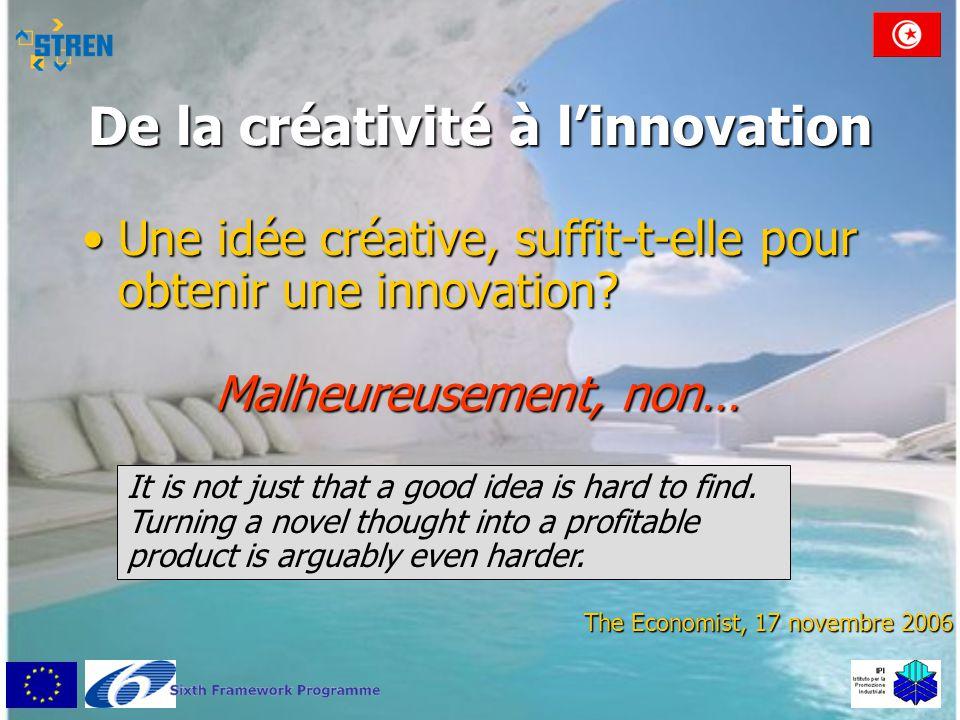 De la créativité à l'innovation •Une idée créative, suffit-t-elle pour obtenir une innovation? The Economist, 17 novembre 2006 It is not just that a g