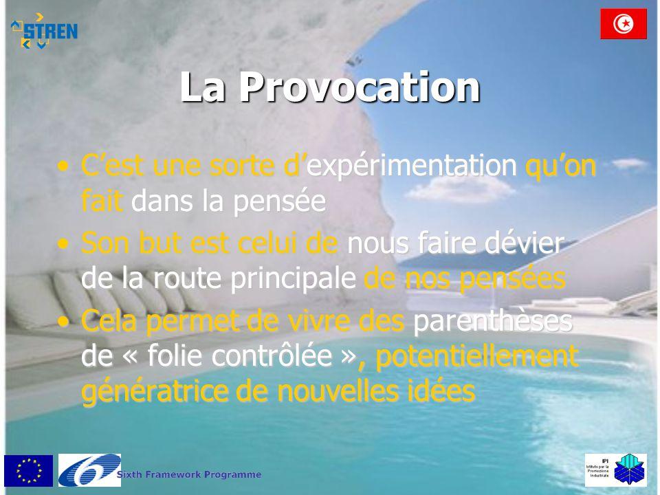 La Provocation •C'est une sorte d'expérimentation qu'on fait dans la pensée •Son but est celui de nous faire dévier de la route principale de nos pens