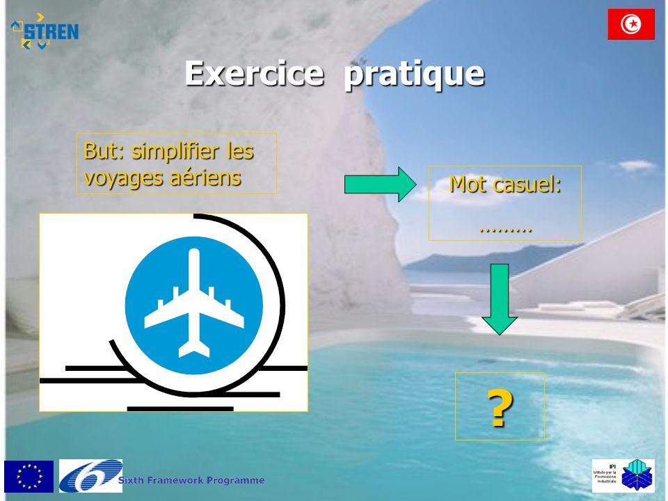 Exercice pratique But: simplifier les voyages aériens Mot casuel: ……… ?