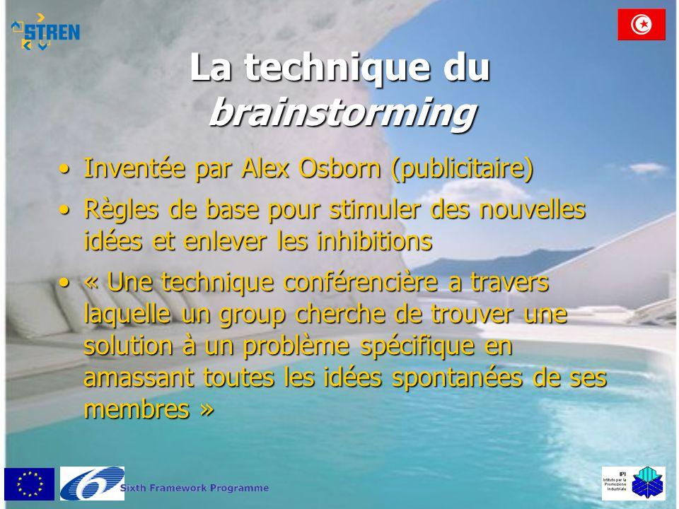La technique du brainstorming •Inventée par Alex Osborn (publicitaire) •Règles de base pour stimuler des nouvelles idées et enlever les inhibitions •«