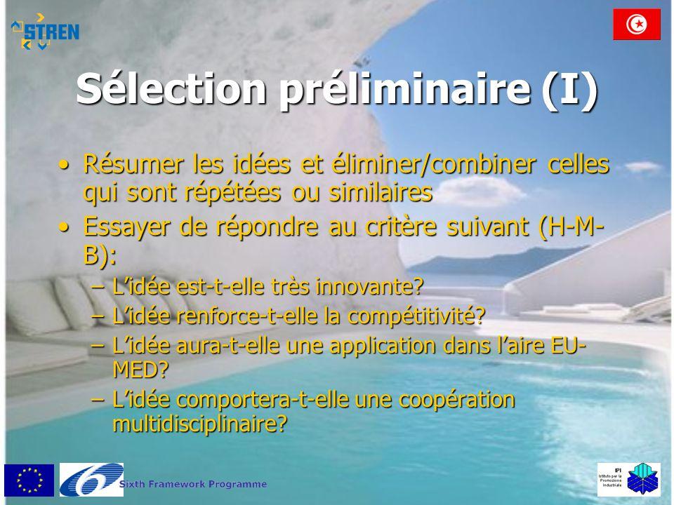 Sélection préliminaire (I) •Résumer les idées et éliminer/combiner celles qui sont répétées ou similaires •Essayer de répondre au critère suivant (H-M