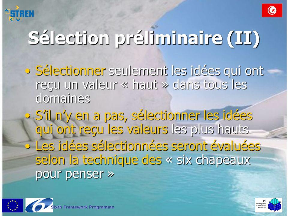 Sélection préliminaire (II) •Sélectionner seulement les idées qui ont reçu un valeur « haut » dans tous les domaines •S'il n'y en a pas, sélectionner