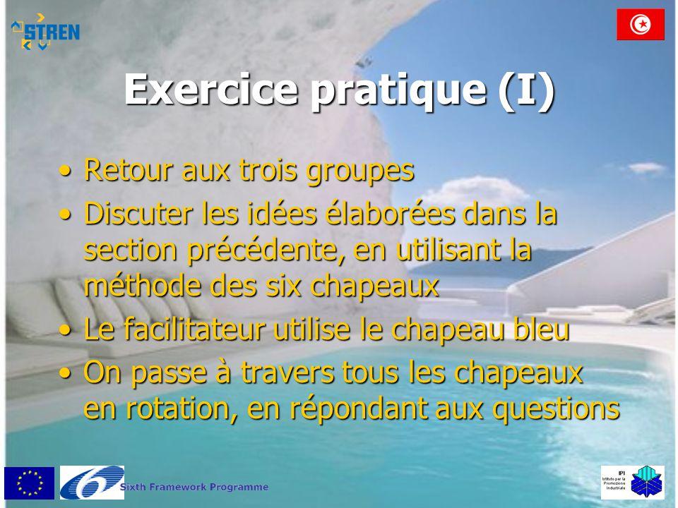 Exercice pratique (I) •Retour aux trois groupes •Discuter les idées élaborées dans la section précédente, en utilisant la méthode des six chapeaux •Le