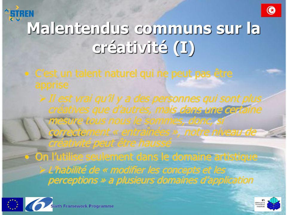 Malentendus communs sur la créativité (I) •C'est un talent naturel qui ne peut pas être apprise  Il est vrai qu'il y a des personnes qui sont plus cr