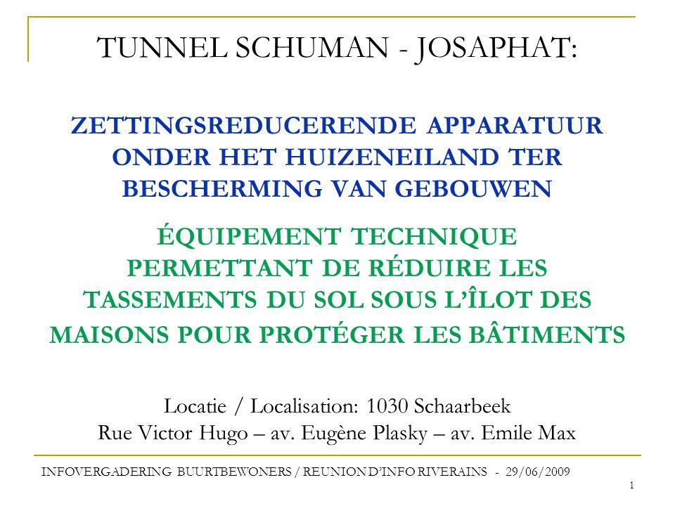 1 TUNNEL SCHUMAN - JOSAPHAT: ZETTINGSREDUCERENDE APPARATUUR ONDER HET HUIZENEILAND TER BESCHERMING VAN GEBOUWEN ÉQUIPEMENT TECHNIQUE PERMETTANT DE RÉDUIRE LES TASSEMENTS DU SOL SOUS L'ÎLOT DES MAISONS POUR PROTÉGER LES BÂTIMENTS Locatie / Localisation: 1030 Schaarbeek Rue Victor Hugo – av.