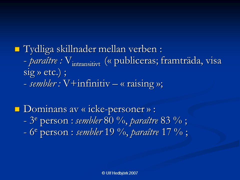 © Ulf Hedbjörk 2007  Tydliga skillnader mellan verben : - paraître : V intransitivt (« publiceras; framträda, visa sig » etc.) ; - sembler : V+infinitiv – « raising »;  Dominans av « icke-personer » : - 3 e person : sembler 80 %, paraître 83 % ; - 6 e person : sembler 19 %, paraître 17 % ;