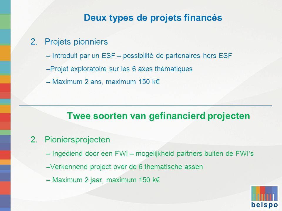 Deux types de projets financés 2.Projets pionniers – Introduit par un ESF – possibilité de partenaires hors ESF –Projet exploratoire sur les 6 axes thématiques – Maximum 2 ans, maximum 150 k€ Twee soorten van gefinancierd projecten 2.Pioniersprojecten – Ingediend door een FWI – mogelijkheid partners buiten de FWI's –Verkennend project over de 6 thematische assen – Maximum 2 jaar, maximum 150 k€