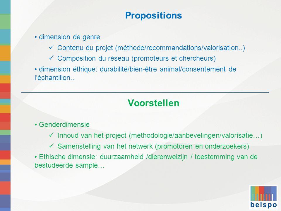 Propositions • dimension de genre  Contenu du projet (méthode/recommandations/valorisation..)  Composition du réseau (promoteurs et chercheurs) • dimension éthique: durabilité/bien-être animal/consentement de l'échantillon..