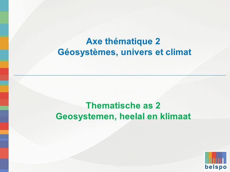 Axe thématique 2 Géosystèmes, univers et climat Thematische as 2 Geosystemen, heelal en klimaat