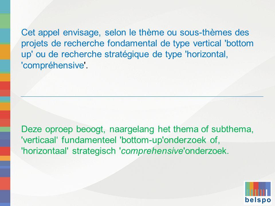 Cet appel envisage, selon le thème ou sous-thèmes des projets de recherche fondamental de type vertical bottom up ou de recherche stratégique de type horizontal, compréhensive .