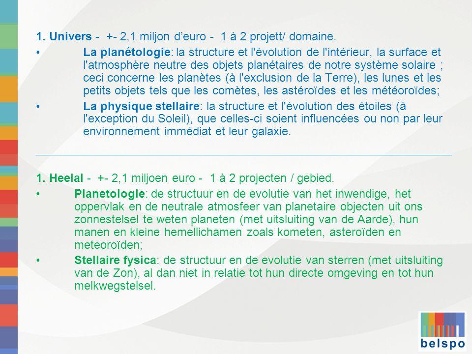 1. Univers - +- 2,1 miljon d'euro - 1 à 2 projett/ domaine.