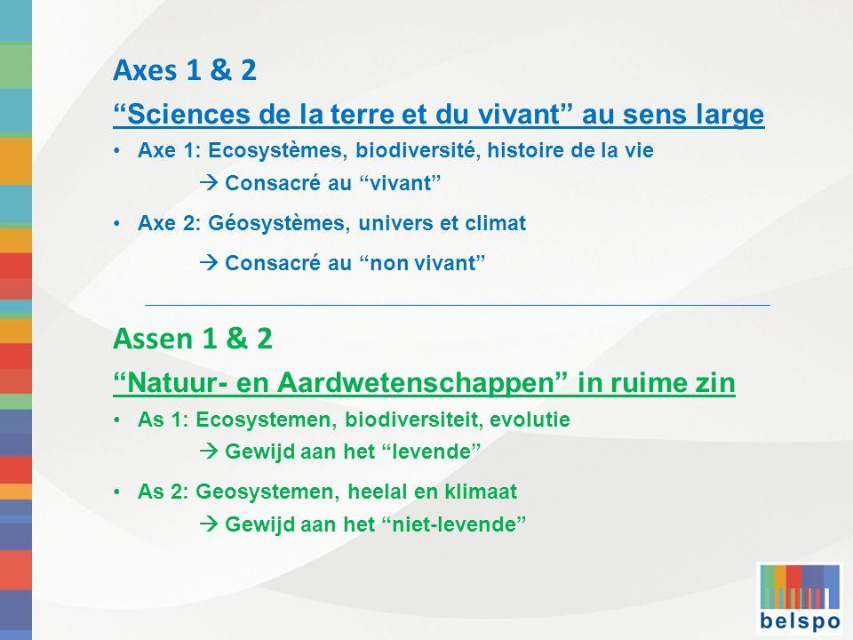 Axes 1 & 2 Sciences de la terre et du vivant au sens large • Axe 1: Ecosystèmes, biodiversité, histoire de la vie  Consacré au vivant •Axe 2: Géosystèmes, univers et climat  Consacré au non vivant Assen 1 & 2 Natuur- en Aardwetenschappen in ruime zin •As 1: Ecosystemen, biodiversiteit, evolutie  Gewijd aan het levende •As 2: Geosystemen, heelal en klimaat  Gewijd aan het niet-levende