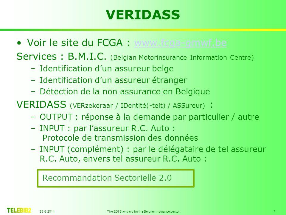 28-6-2014 The EDI Standard for the Belgian Insurance sector 8 •Zie de site van het GMWF : www.fcga-gmwf.bewww.fcga-gmwf.be Diensten : B.M.I.C.