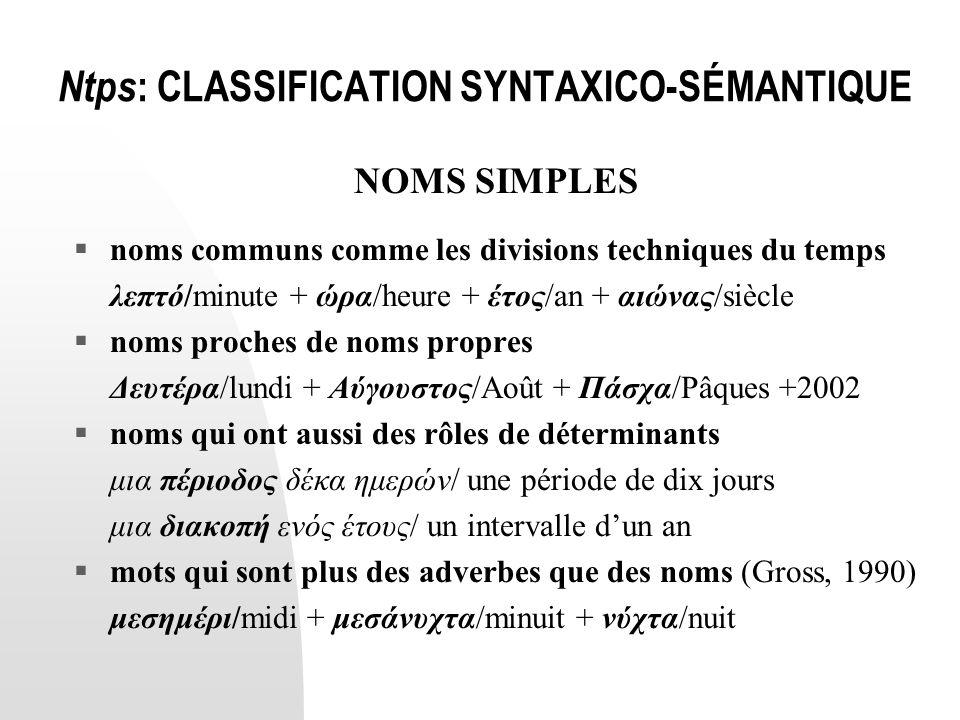 Ntps : CLASSIFICATION SYNTAXICO-SÉMANTIQUE NOMS SIMPLES  noms communs comme les divisions techniques du temps λεπτό/minute + ώρα/heure + έτος/an + αι