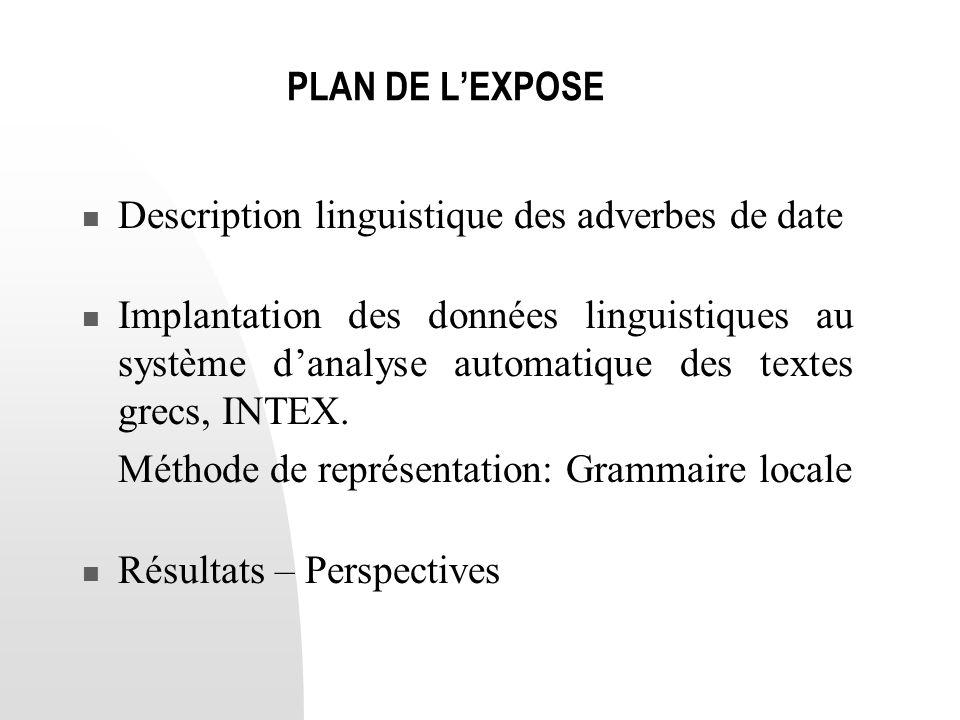 PLAN DE L'EXPOSE  Description linguistique des adverbes de date  Implantation des données linguistiques au système d'analyse automatique des textes