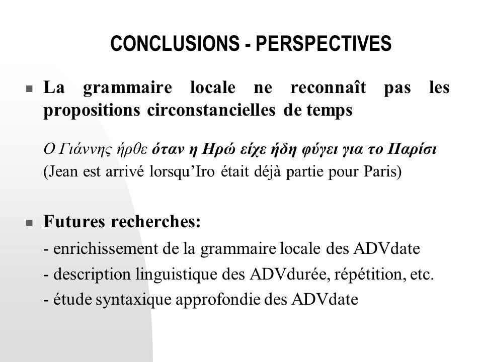 CONCLUSIONS - PERSPECTIVES  La grammaire locale ne reconnaît pas les propositions circonstancielles de temps Ο Γιάννης ήρθε όταν η Ηρώ είχε ήδη φύγει