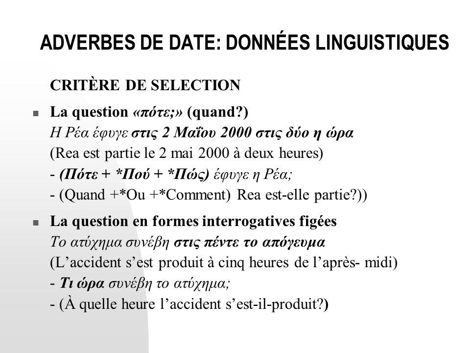 ADVERBES DE DATE: DONNÉES LINGUISTIQUES CRITÈRE DE SELECTION  La question «πότε;» (quand?) Η Ρέα έφυγε στις 2 Μαΐου 2000 στις δύο η ώρα (Rea est part