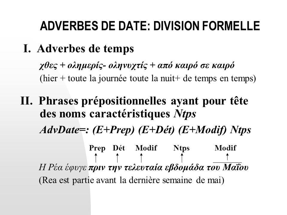 ADVERBES DE DATE: DIVISION FORMELLE I. Adverbes de temps χθες + ολημερίς- οληνυχτίς + από καιρό σε καιρό (hier + toute la journée toute la nuit+ de te