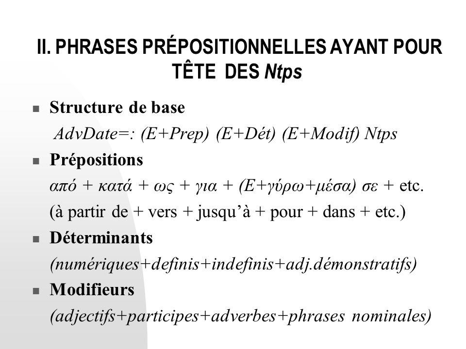 II. PHRASES PRÉPOSITIONNELLES AYANT POUR TÊTE DES Ntps  Structure de base AdvDate=: (E+Prep) (E+Dét) (E+Modif) Ntps  Prépositions από + κατά + ως +