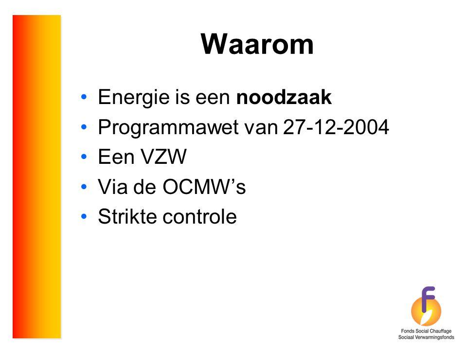 Waarom •Energie is een noodzaak •Programmawet van 27-12-2004 •Een VZW •Via de OCMW's •Strikte controle