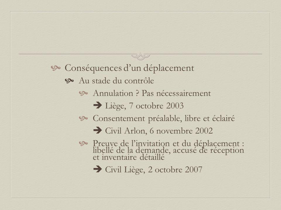  Conséquences d'un déplacement  Au stade du contrôle  Annulation ? Pas nécessairement  Liège, 7 octobre 2003  Consentement préalable, libre et éc