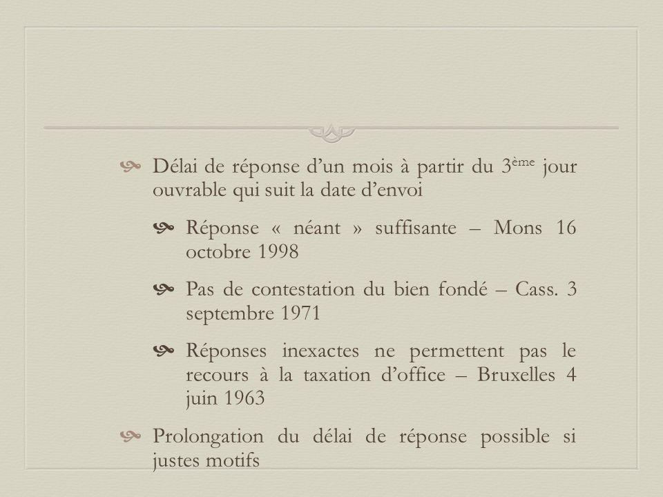  Délai de réponse d'un mois à partir du 3 ème jour ouvrable qui suit la date d'envoi  Réponse « néant » suffisante – Mons 16 octobre 1998  Pas de c