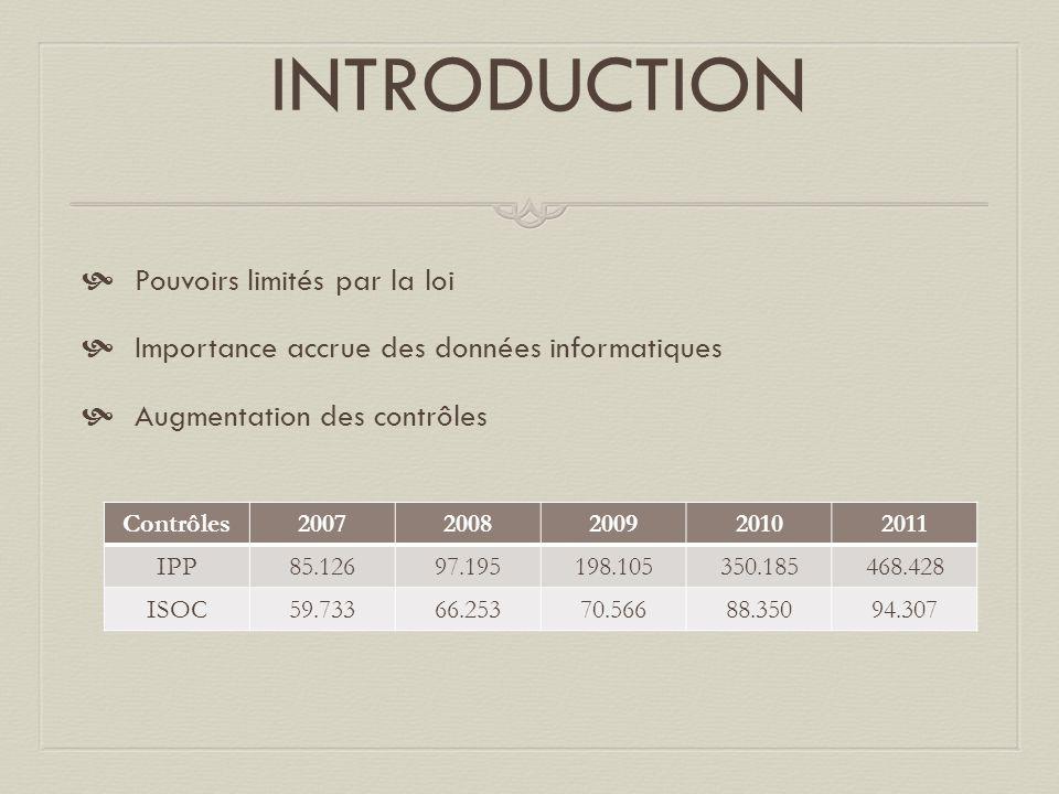 INTRODUCTION  Pouvoirs limités par la loi  Importance accrue des données informatiques  Augmentation des contrôles Contrôles20072008200920102011 IP