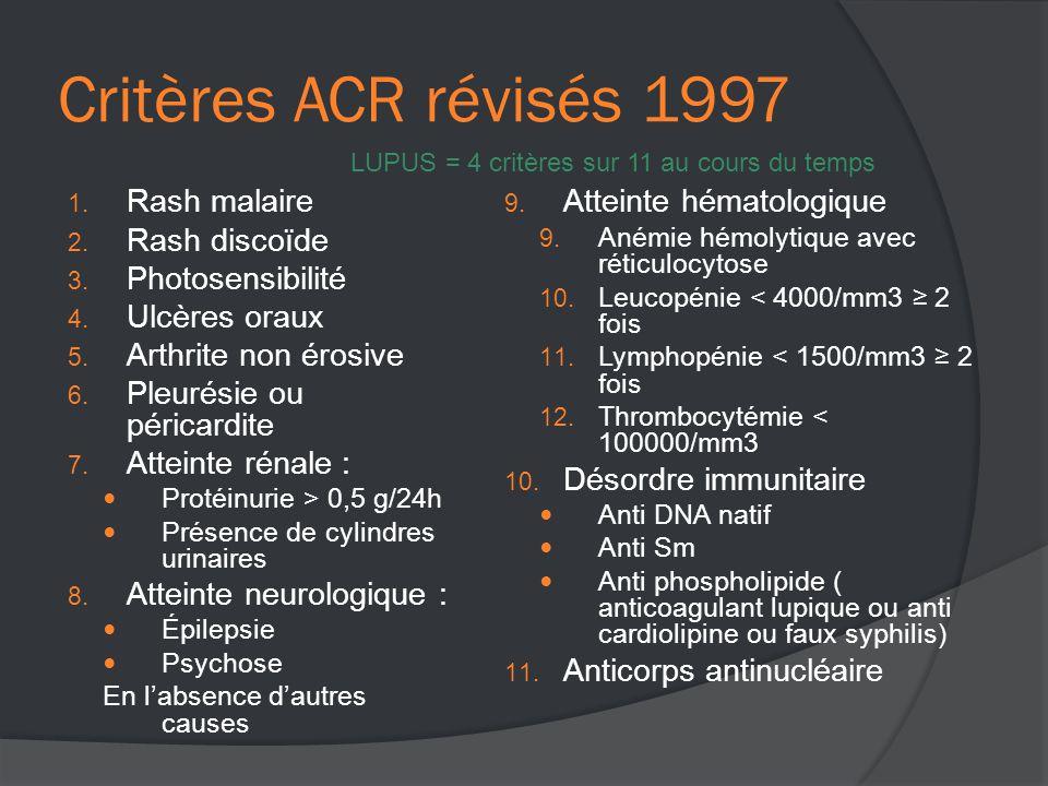 Critères ACR révisés 1997 1.Rash malaire 2. Rash discoïde 3.