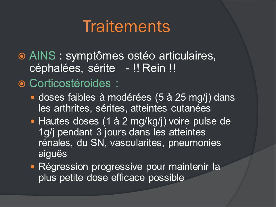 Traitements  AINS : symptômes ostéo articulaires, céphalées, sérite - !.
