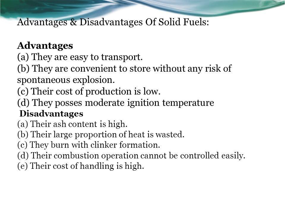 advantages and disadvantages of fuels