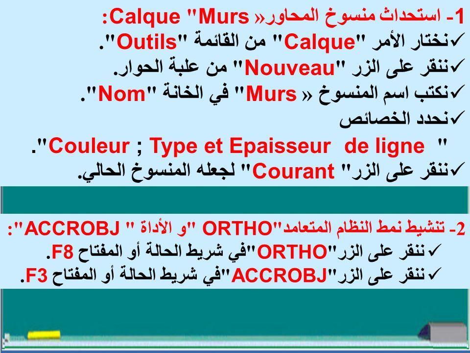 1- استحداث منسوخ المحاور « Murs Calque: نختار الأمر Calque من القائمة Outils .