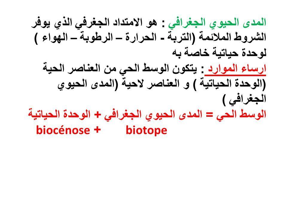 المدى الحيوي الجغرافي : هو الامتداد الجغرفي الذي يوفر الشروط الملائمة ( التربة - الحرارة – الرطوبة – الهواء ) لوحدة حياتية خاصة به ارساء الموارد : يتكون الوسط الحي من العناصر الحية ( الوحدة الحياتية ) و العناصر لاحية ( المدى الحيوي الجغرافي ) الوسط الحي = المدى الحيوي الجغرافي + الوحدة الحياتية biotope + biocénose