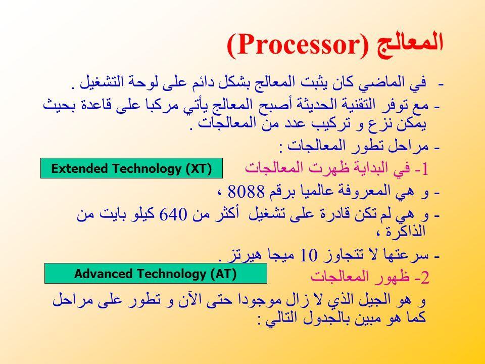 المعالج (Processor) -في الماضي كان يثبت المعالج بشكل دائم على لوحة التشغيل.