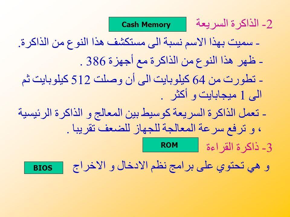 2- الذاكرة السريعة - سميت بهذا الاسم نسبة الى مستكشف هذا النوع من الذاكرة.