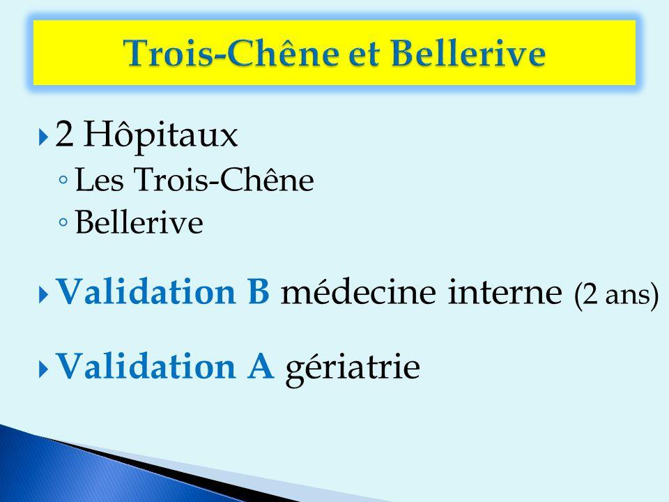  2 Hôpitaux ◦ Les Trois-Chêne ◦ Bellerive  Validation B médecine interne (2 ans)  Validation A gériatrie