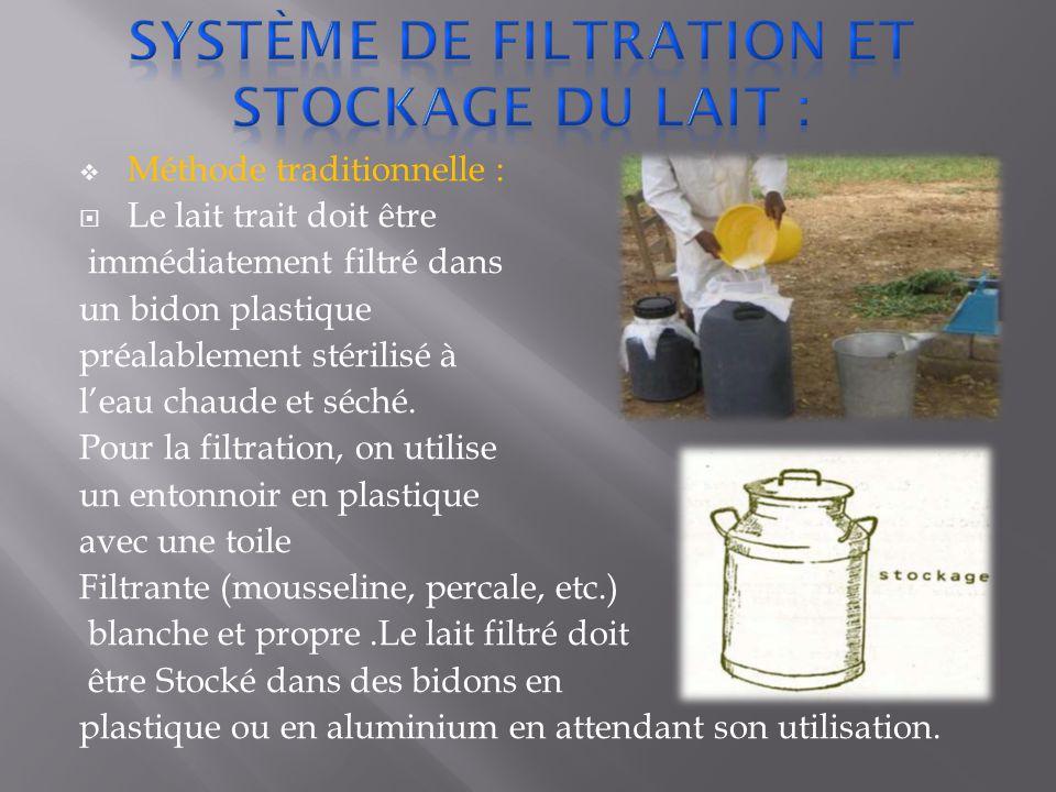  Méthode traditionnelle :  Le lait trait doit être immédiatement filtré dans un bidon plastique préalablement stérilisé à l'eau chaude et séché.