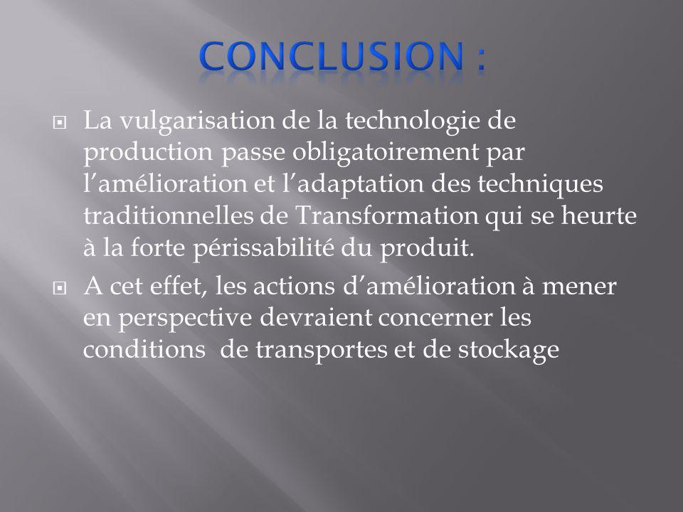  La vulgarisation de la technologie de production passe obligatoirement par l'amélioration et l'adaptation des techniques traditionnelles de Transformation qui se heurte à la forte périssabilité du produit.