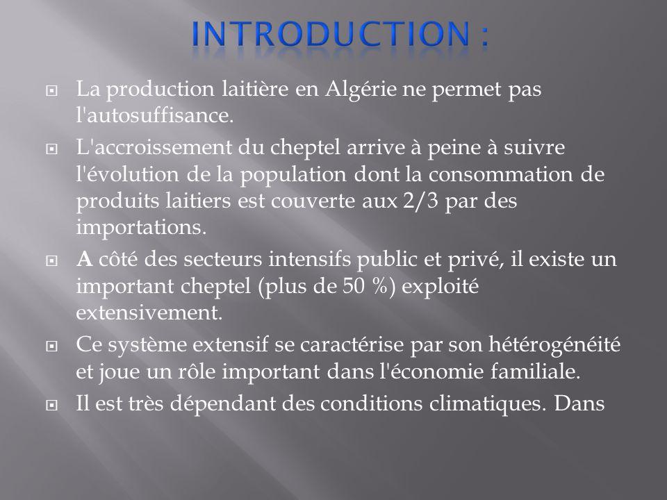  La production laitière en Algérie ne permet pas l autosuffisance.