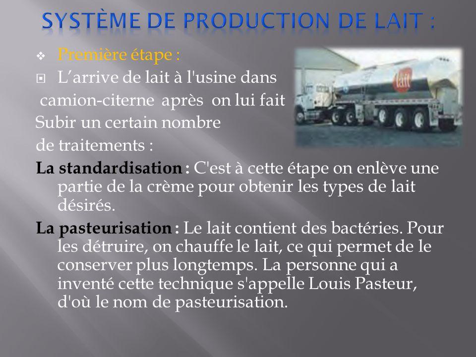  Première étape :  L'arrive de lait à l usine dans camion-citerne après on lui fait Subir un certain nombre de traitements : La standardisation : C est à cette étape on enlève une partie de la crème pour obtenir les types de lait désirés.