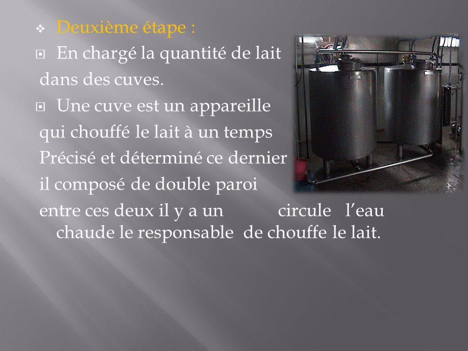  Deuxième étape :  En chargé la quantité de lait dans des cuves.
