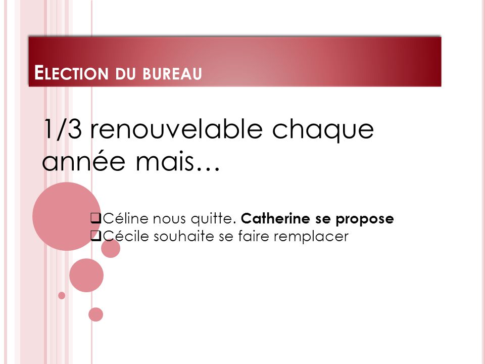 E LECTION DU BUREAU 1/3 renouvelable chaque année mais…  Céline nous quitte.