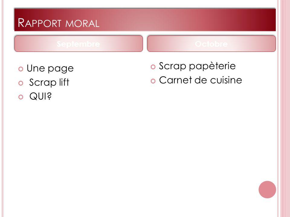R APPORT MORAL Une page Scrap lift QUI Scrap papèterie Carnet de cuisine Septembre Octobre