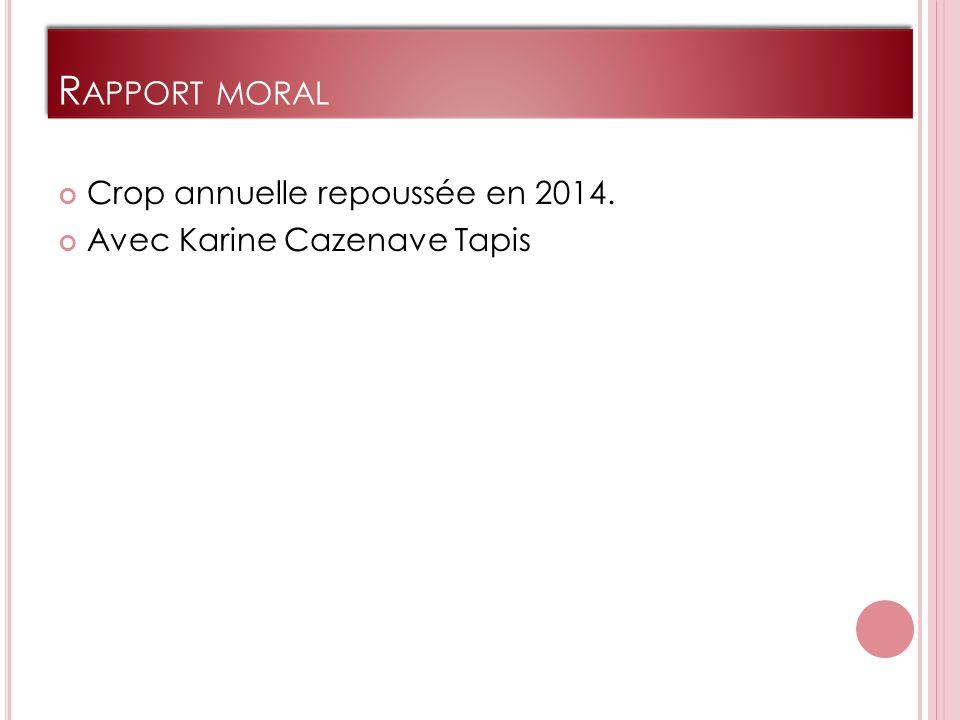 R APPORT MORAL Crop annuelle repoussée en 2014. Avec Karine Cazenave Tapis