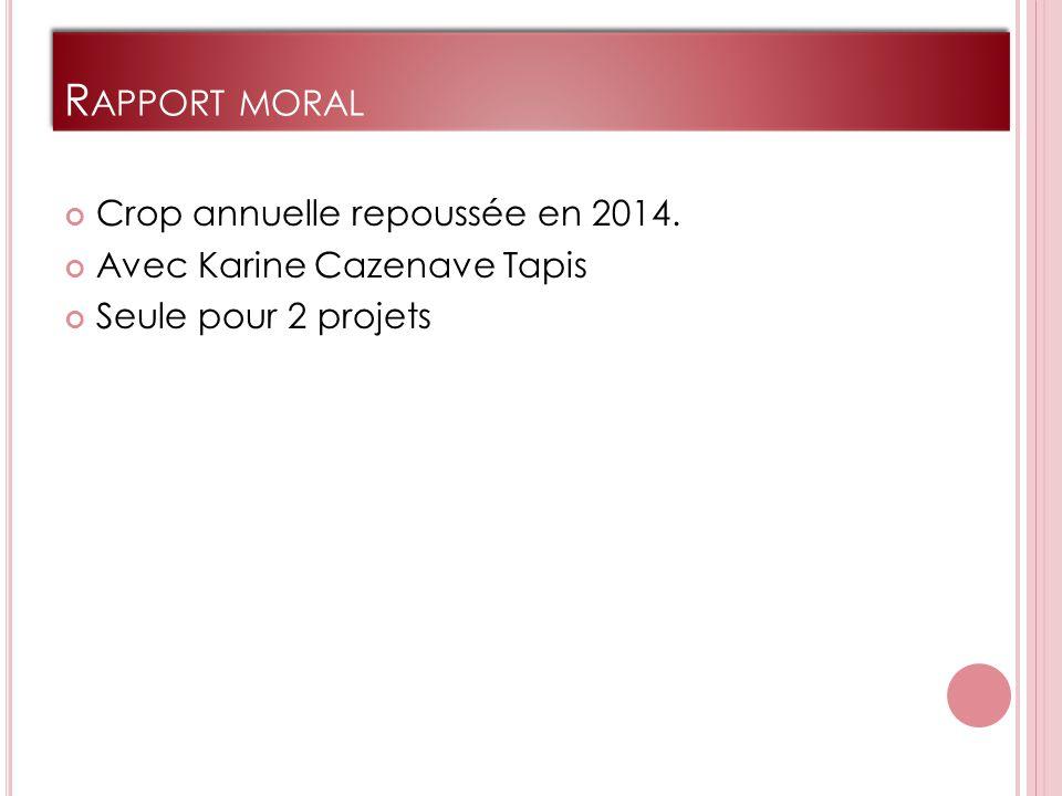 R APPORT MORAL Crop annuelle repoussée en 2014. Avec Karine Cazenave Tapis Seule pour 2 projets