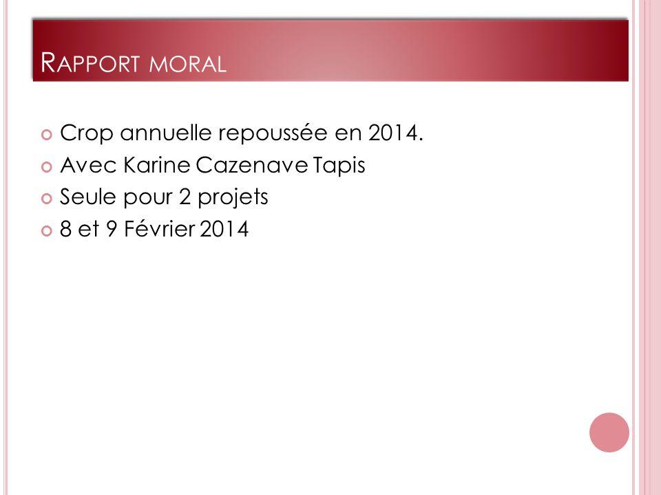 R APPORT MORAL Crop annuelle repoussée en 2014.