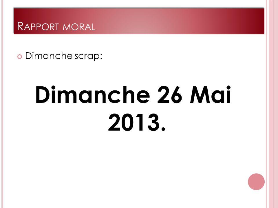 R APPORT MORAL Dimanche scrap: Dimanche 26 Mai 2013.