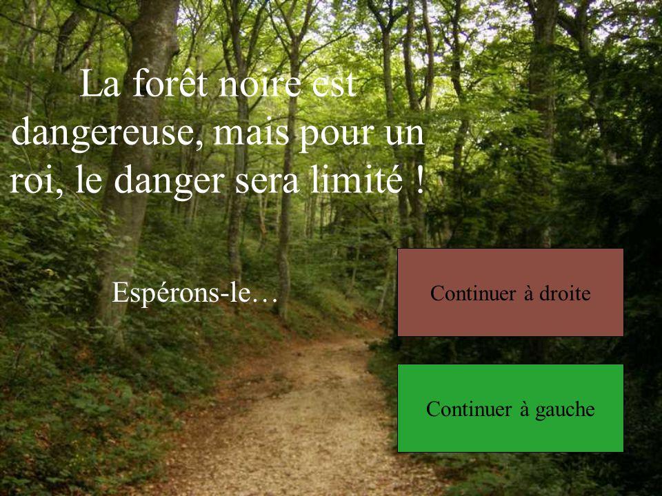 La forêt noire est dangereuse, mais pour un roi, le danger sera limité .